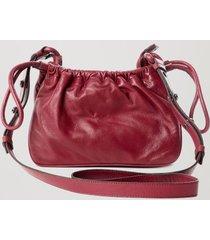 bolsa de couro franzido color vermelho disco/grafite