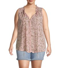 bobeau women's plus dahlia floral sleeveless blouse - peach floral - size 4x (26-28)