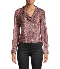 vigoss women's snakeskin-print faux leather jacket - pink - size xs