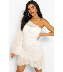 dobby mini-jurk met één schouder en uitlopende mouwtjes, crème
