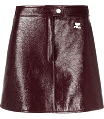 courrèges faux-leather mini skirt - red