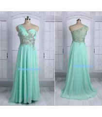 long one shoulder beaded mint chiffon prom homecoming gown dresses