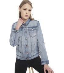chaqueta ellus denim full paño vintage celeste - calce regular