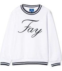 fay white and navy blue cotton sweatshirt