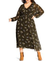 plus size women's city chic floral print long sleeve maxi dress