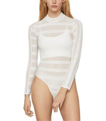 bcbgmaxazria striped sheer mock-neck bodysuit