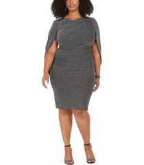 betsy & adam plus size metallic-knit cape dress