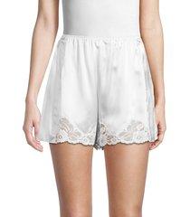 stella mccartney women's tanok embroidered hem silk shorts - white - size 42 (8)