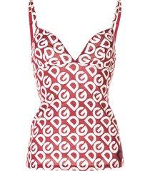 dolce & gabbana logo print camisole - red
