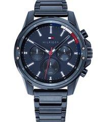 tommy hilfiger men's chronograph blue bracelet watch 45mm