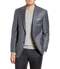 men's big & tall peter millar flynn classic fit plaid wool sport coat, size 52 r - grey