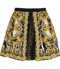 young versace printed twill pleated skirt