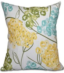 hydrangeas 16 inch yellow and aqua decorative floral throw pillow