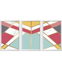 conjunto kit 3 quadro oppen house s 60x120cm escandinavo kiruna com vidro e moldura branca      quadro oppen house s decorativos - branco - dafiti