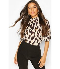 woven leopard angel sleeved top, brown