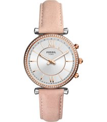 fossil q carlie hybrid leather strap smart watch, 36mm in blush/white/silver at nordstrom