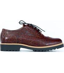 skórzane półbuty zapato 258 brąz czarny kroko