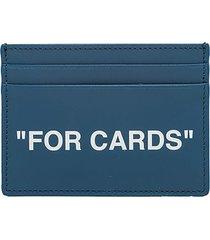 off-white calf skin quote credit card holder omnd017f20lea001