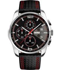 reloj analogo hombre cronografo 3bar skmei 9106 negro rojo