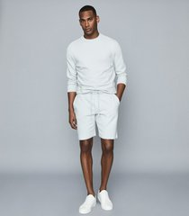 reiss belsay - garment-dyed jersey shorts in light blue, mens, size xxl