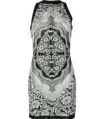 jacquard lace print mini jurk
