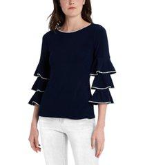 msk embellished tiered-sleeve top
