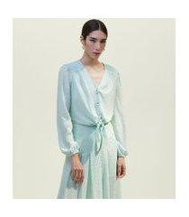 camisa manga longa bufante com amarração e estampa metalizada | a-collection | verde | g