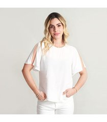 blusa para mujer cuello redondo, manga corta, tela fluida color-blanco-xs