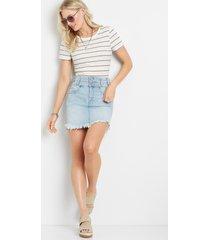 kancan™ womens high rise stacked waist fray hem blue denim skirt - maurices