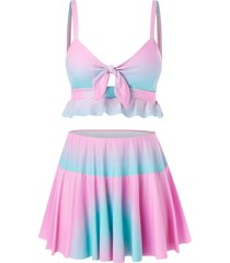 plus size ombre bowknot cami tankini swimsuit