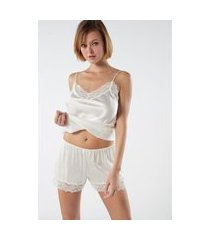 shorts de pijama de seda - off-white g intimissimi