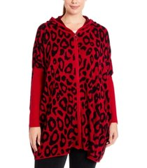joseph a plus size leopard-knit hooded zip-front poncho