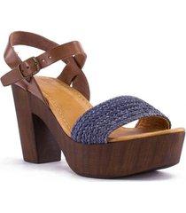 sandalia cuero aqua casual azul rockford