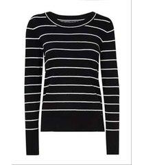 blusa dudalina tricot manga longa gola canoa listrado feminina (preto, gg)