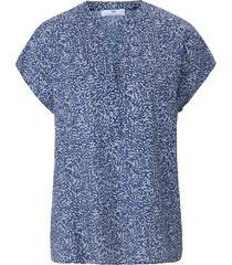 blouseshirt met minimal-print van peter hahn blauw
