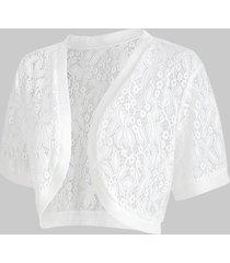 plus size open front lace panel crop top