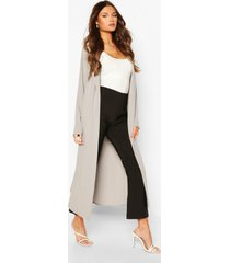 belted collared jacket, grey