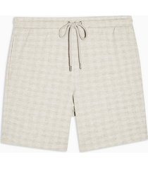 mens stone and ecru check jersey shorts