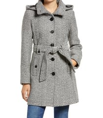 women's gallery belted tweed coat with hood, size x-large - grey