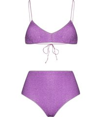 oséree lumiére lurex bikini set - purple