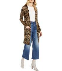 women's halogen leopard print long cardigan, size x-small - brown