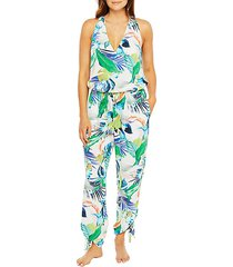 in the moment tropical-print jumpsuit