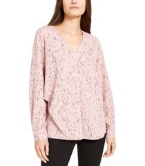 alfani abstract-print draped blouse, created for macy's