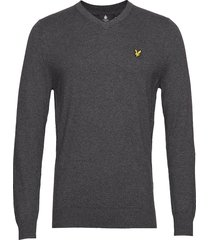 cotton merino v neck jumper gebreide trui v-hals grijs lyle & scott