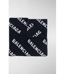 balenciaga all-over jacquard logo scarf