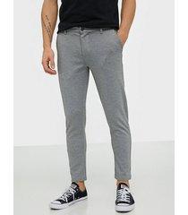 solid pants - dave barro cr byxor grey melange