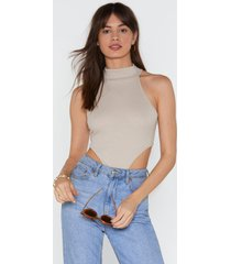 womens high how's it going high-leg ribbed bodysuit - stone