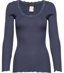 silk t-shirt regular ls w/rev vinta t-shirts & tops long-sleeved blauw rosemunde