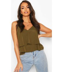 strappy double cami top, khaki