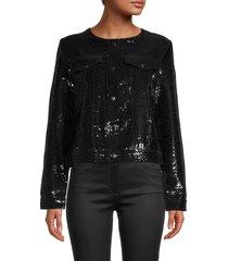 dolce cabo women's sequin jacket - black - size m